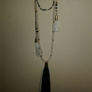 Vintage layered Necklace w Tassels Black and White